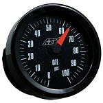 AEM Analog Oil/Fuel Pressure Gauge Black & White Faces 0-100 psi